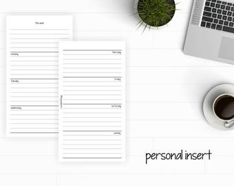 PERSONAL Undated Printable Horozontal Week on 2 Pages - Monday and Sunday Start - p006