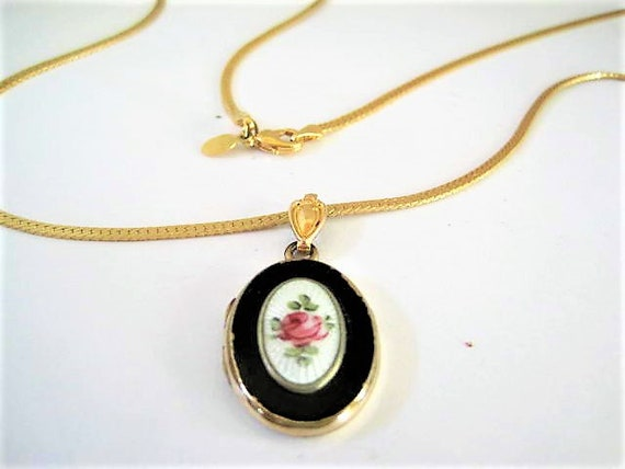 Guilloche Photo Locket Necklace, Gold Filled Locket,  Black White  Enamel,  Hand Painted Rose,  Photo Locket, Gold Tone Chain