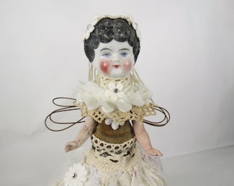 "Bridal Art Doll ""Something Old"" Assemblage Art Angel"