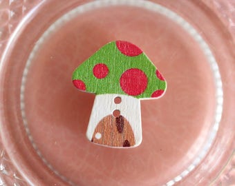 button mushroom, green and fuchsia pink wood