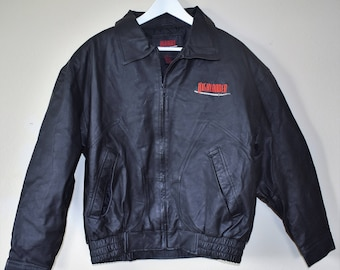 90s Vintage Highlander Black Leather Jacket Med