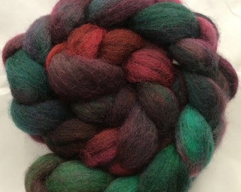 Hand Dyed Roving - Northern Lights - 3.5 oz - 100g - Peruvian Highland Wool