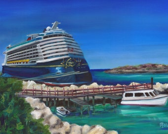 Ride to Paradise, oil painting, original art, cruise ship art, landscape painting, island painting