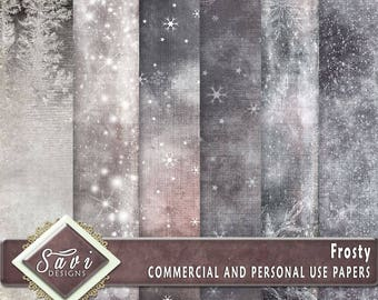 CU Commercial Use Background Papers set of 6 for Digital Scrapbooking or Craft projects FROSTY Papers, Designer Stock Papers