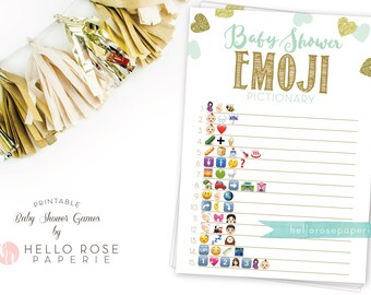 Baby Shower Emoji Pictionary . Mint and Gold Emoji Baby Shower Game . Printable Instant Download . Mint Gold Baby Shower Boy Girl Twins Game