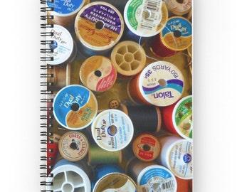 Craft Notebook ~ Spools Photo Notebook ~ Women's Gift for Her  ~  Sewing Thread Notebook ~ Spiral Notebook ~ Writing Journal ~ Hostess Gift