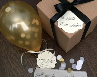 Gold-Will you be my bridesmaid? Pop the balloon to reveal your message