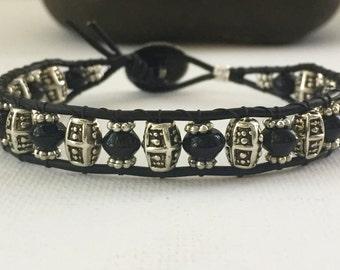 Mens bracelet, mens wrap bracelet, Mens onyx bracelet, leather beaded, mens beaded bracelet, leather woven bracelet, mens gift,gifts for him