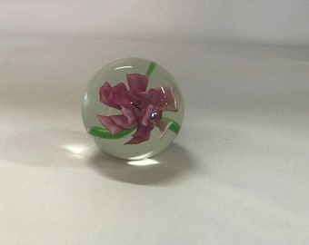 Hand Blown Glass Floral Paper Weight- Free Shipping