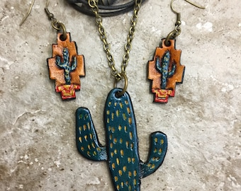 Cactus jewelry NECKLACE EARRINGS set hand tooled leather Cactuses