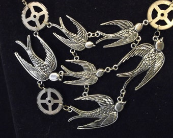 Steampunk Style Antiqued Metal Swallows and Gears Necklace/Choker