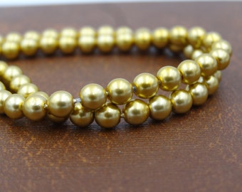 Czech Glass 4mm Round Beads Pearlized Gold   50 Pieces