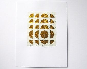 Gold Paper Collage Art - Origami Sketch No17 - Modern Op Art - Metallic Gold Home Decor - Original Geometric Collage - Paper Anniversary