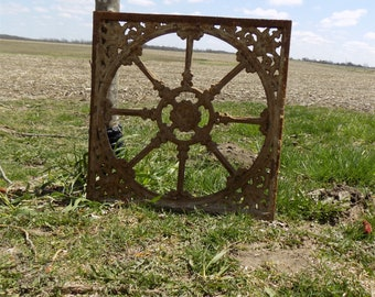 18.5 x 18.5 Cast Iron Ornamental Grate Panel German Architectural Salvage b, Register Cover, Architectural Salvage Grate, Vent