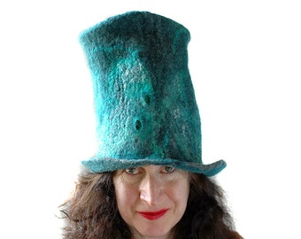 Emerald Green Top Hat made of Felted Wool  Slytherin Colors  Unique Slytherin Wizard Hat  Harry Potter Gift Unisex