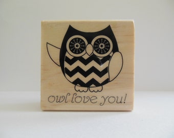 Owl Stamp - Hoot and Howl Collection - Wood Mounted Rubber Stamp - Woodland Animal