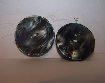 Blue green marble swirl matching two buttons 40 mm