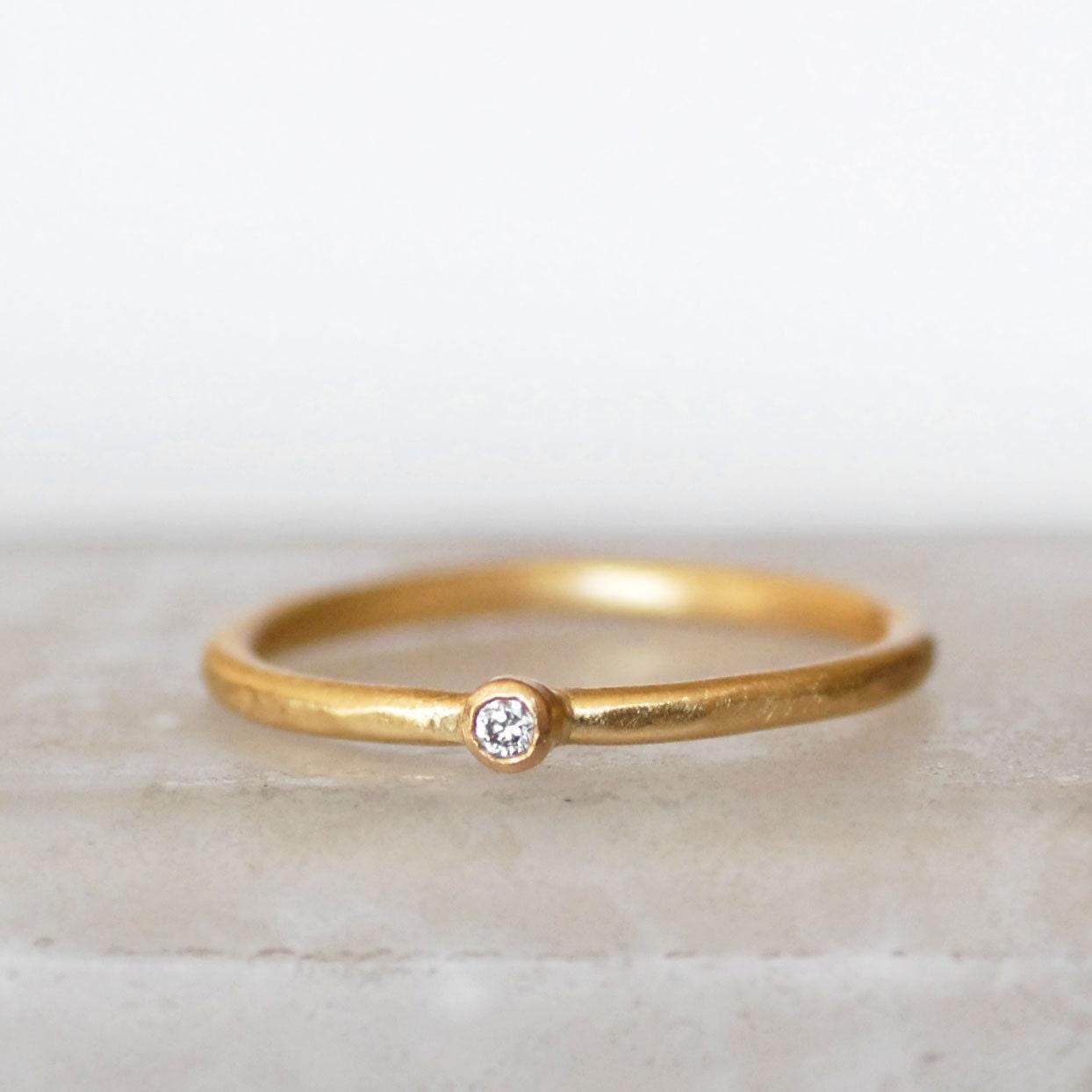 Tiny Diamond Ring 2mm Diamond Ring Small Diamond Gold