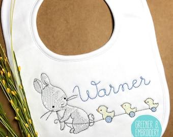 Personalized Bunny Bib / Personalized Baby Bib / Bunny and Ducks / Baby Shower Gift / Easter Bib / Boy Personalized Bib / Baby Bunny Bib