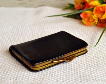 Vintage Small Leather Coin Purse - Tiny Wallet