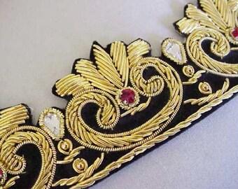 Hand-Beaded Trim. Tudor Gold. Bullion on Black Velvet