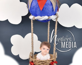 Baby, Toddler, Child, Hot Air Balloon Basket Photography Digital Backdrop Background Prop with for Photographers - PNG Coverup Layer