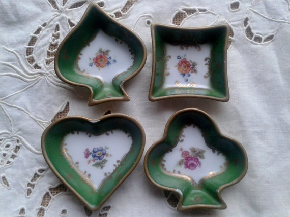 Card Suit Art French Porcelain Pin Trays Cups Spade Heart Diamond  Club Green Color Floral Gold Trim 60's Couleuvre #sophieladydeparis
