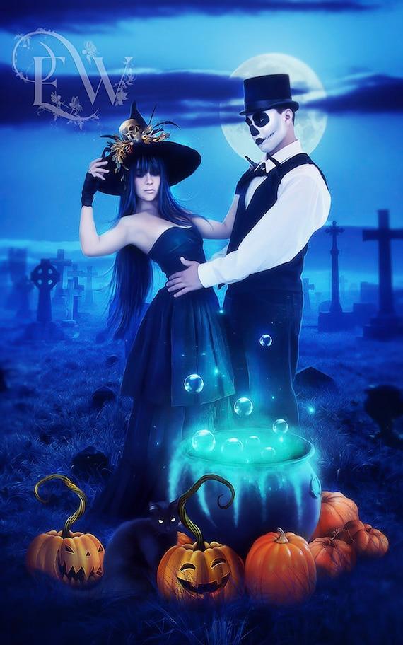 Halloween dark fantasy Witch couple in cemertery art print