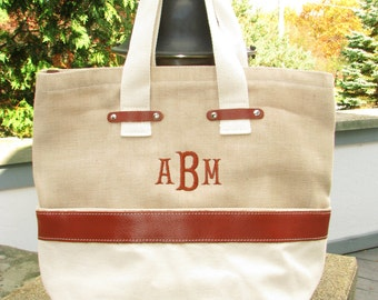 Canvas Jute  Leather Tote bag -  Monogram or  Personalized