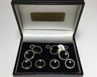 10K Black Onyx Complete Tuxedo Stud Set with Matching Cufflinks & Vest Studs circa 1930's