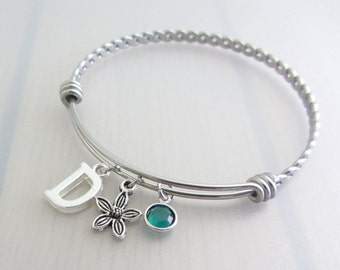 Flower Charm Stainless Steel Bangle, Birthstone Initial Bangle, Personalised Silver Letter Charm Bracelet, Adjustable Bangle, Gardeners Gift