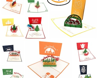 Pack of 10 Pop Up Greeting Cards on Christmas & Holiday-3D Handmade Unique Gift Designs by BeFun