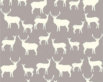 Gray Woodland  Elk Deer Fabric, Organic Cotton, Quilting Weight, Birch Fabrics, Elk Family, Grey Antlers, Stags, Deer, By the Yard, Yardage