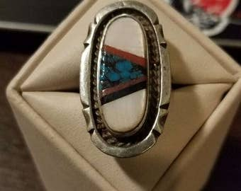 Vintage Sterling Silver Zuni Inlad Ring Size 8 3/4