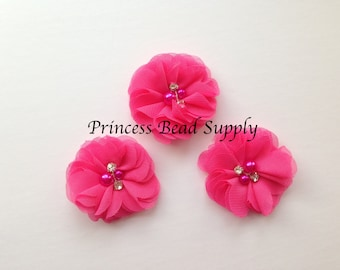 "Mini Chiffon Hot Pink Flowers, Set of 3 Petite Hot Pink Chiffon Flowers,  2"" Chiffon Flowers,  Pearl & Rhinestone Chiffon Fabric Flowers,"