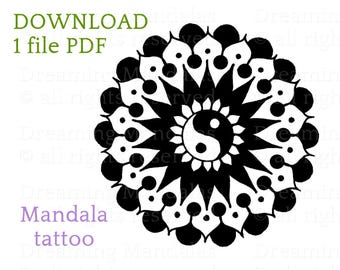 Mandala tattoo design, entirely hand drawn, with a tao, yin yang symbol.