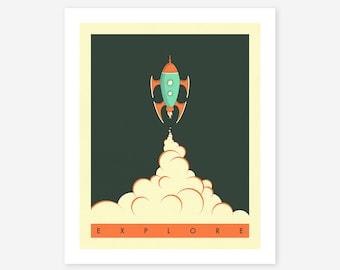 EXPLORE (Giclée Fine Art Print/Photo Print/Poster Print) Minimal Space Art