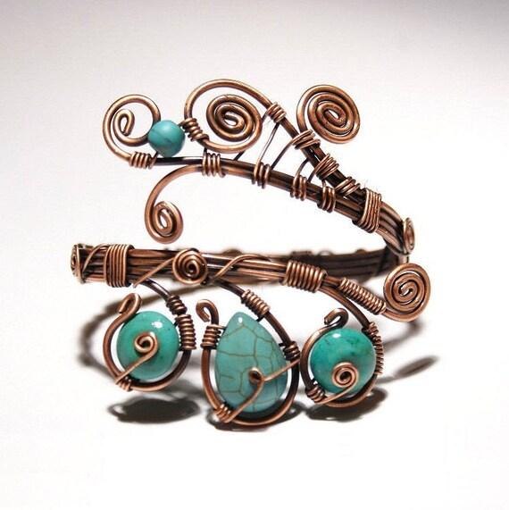Türkis-Armband Draht umwickelt Schmuck handgefertigt Kupfer