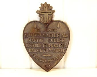 Vintage French Memorial Plaque Heart with Cross