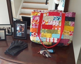 Spring Flowers Handmade Quilted Purse and Tote Bag