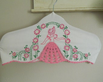 Shabby Chic Couture Vintage Embroidered Linen Hanger Cover