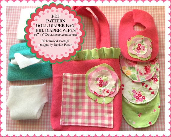 "Sewing Pattern PDF Pattern-Easy Felt Babydoll Shabby Diaper Bag, Diapers, Bibs, Wipes Container and Wipes-10"" doll size"