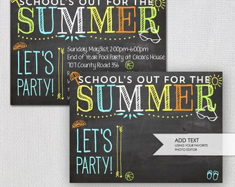 Summer party invitation schools out printable summer party invitation printable schools out chalk invitation instant download blank jpeg invitation template 42548 stopboris Gallery