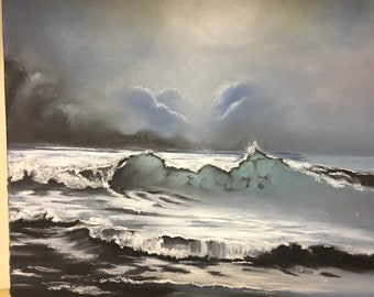 Hand Painted Oil Painting Moonlight Ocean Canvas