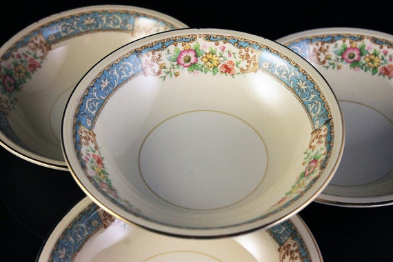 Fruit Bowls, Homer Laughlin, Blue Dawn, Eggshell Nautilus, Set of 4, Blue Border, Floral Pattern, Fine China