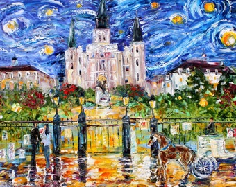 Fine art Print Jackson Square New Orleans Starry Night made from image of oil painting by Karen Tarlton - impressionistic whimsical art