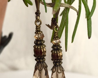Bohemian Style Bronze and Smokey Brown Crystal and Glass Drop Earrings- Late Victorian, Edwardian, Early 20th Century