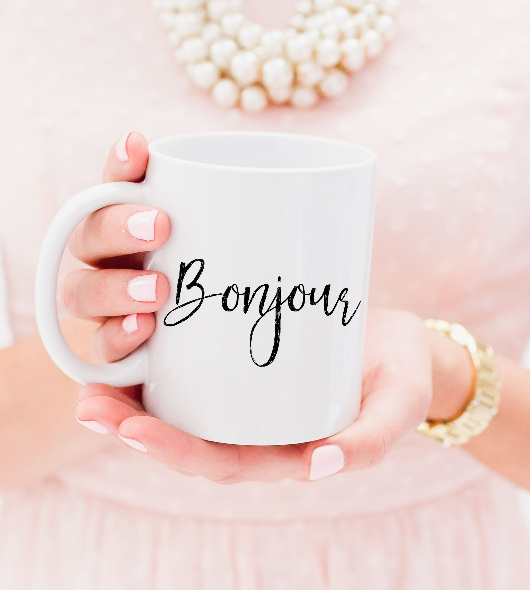 Gift for her Bonjour Ceramic 11oz Coffee Mug Quote