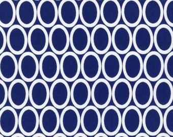 SALE Remix Ovals in Navy Ann Kelle for Robert Kaufman Fabrics Basics Satsh Builder Solids One yard