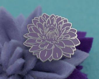 Light Purple Dahlia Flower Hard Enamel Pin